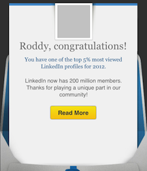 Our LinkedIn profile is one of the TOP 5% most viewed LinkedIn profiles for 2012!